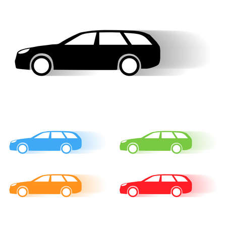 combi: Set of vector estate car moving silhouettes