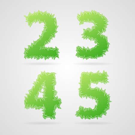 Clean green vector leaf alphabet, 2, 3, 4, 5 Illustration