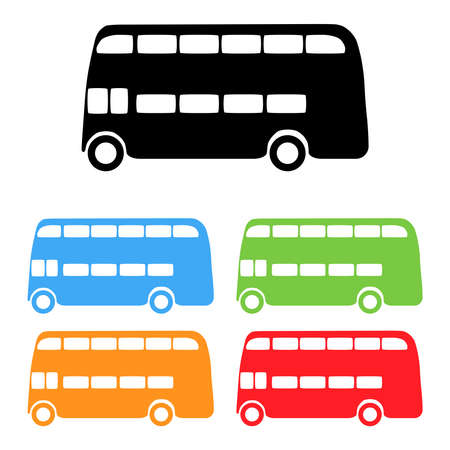 red bus: Vector set of color London bus silhouettes Illustration