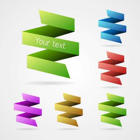 Set of clean vector color fold ribbon elements Stock Vector - 23873144