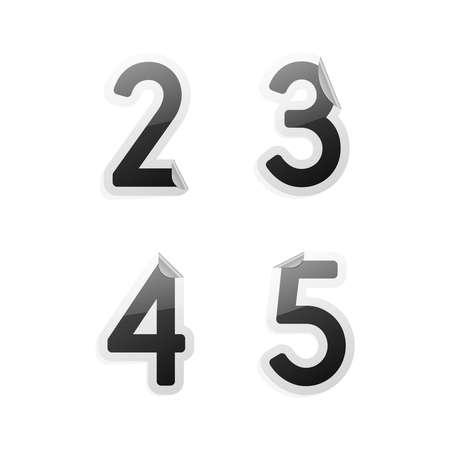 Clean gray vector sticker alphabet, 2, 3, 4, 5