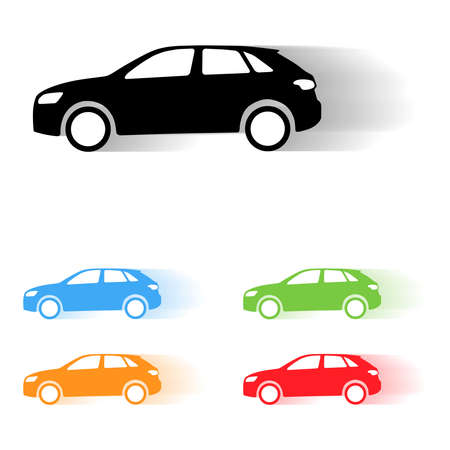 Set of vector suv car moving silhouettes