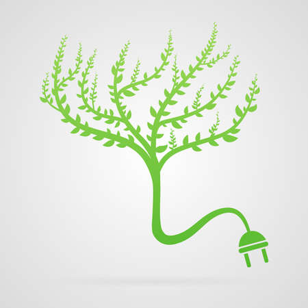 Clean green vector tree abstract plug