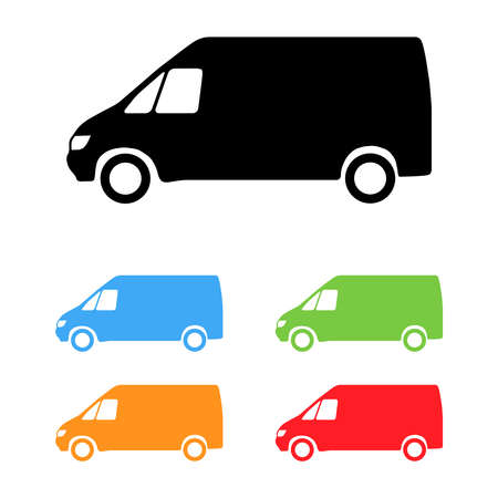 Set of color vector van silhouettes
