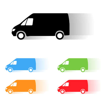 moving van: Set of color vector moving van silhouettes Illustration