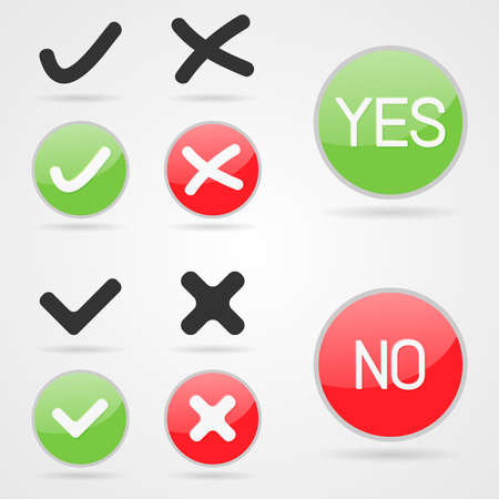 no gradient: Set of clean vector yes and no buttons for accept and decline