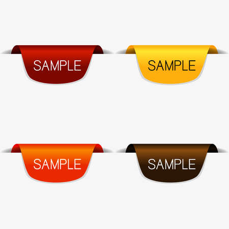 Clean vector set of page ribbon tags with warm tone color