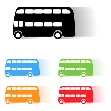 londres autobus: Conjunto de vectores de color de autob�s de Londres siluetas en movimiento Vectores