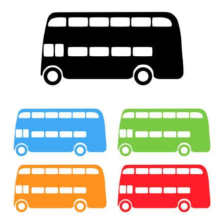 londres autobus: Conjunto de vectores de siluetas de color de autobuses de Londres