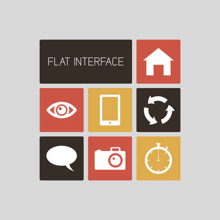 Clean flat vector retro color square user interface template Vector