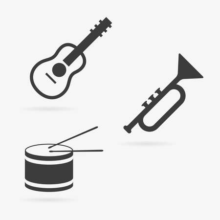Clean vector set of musical instruments symbol icons
