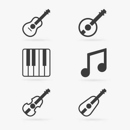 lute: Set of clean vector musical instruments symbol icons Illustration