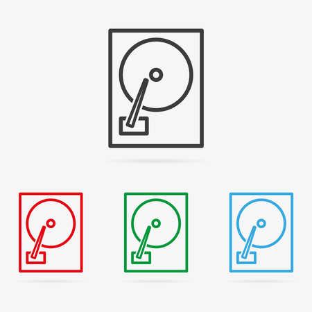 disco duro: Conjunto de vectores de color limpio disco duro iconos de s�mbolos Vectores