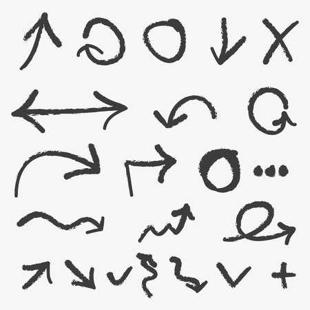 flecha derecha: Conjunto de grunge vector dibujado a mano flechas y s�mbolos Vectores