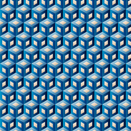 Blue clean vector isometric seamless background pattern Illustration