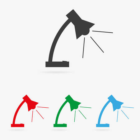 reading lamp: Set of clean vector color lamp symbol icons Illustration