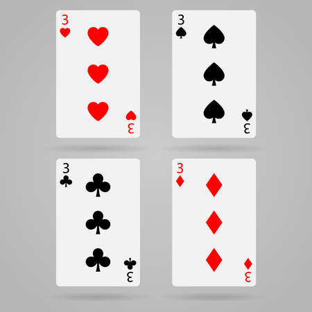 playing cards: Clean vector set of playing cards, three