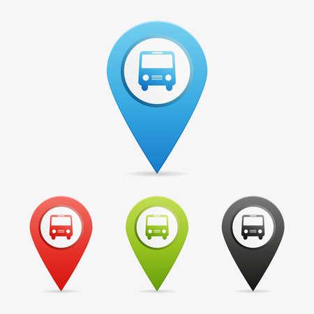 Set of clean vector color bus symbol icon pointers