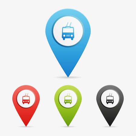 trolleybus: Set of clean vector color trolley bus symbol icon pointers