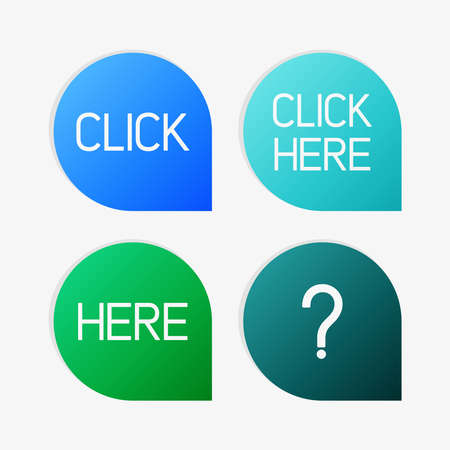 questioner: Clean vector blue and green color set of click and here pointers Illustration