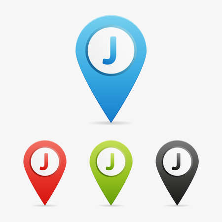 moder: Set of clean vector color letter and number symbol icon pointers, J Illustration