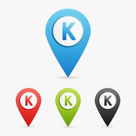 moder: Set of clean vector color letter and number symbol icon pointers, K Illustration