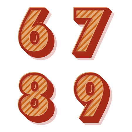 8 9: Red and orange clean vector retro 3d striped alphabet and numbers, 6,7,8,9