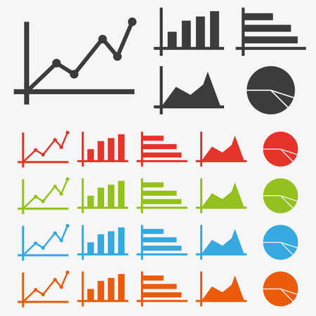 Clean vector color set of charts and diagrams symbol icons Illustration