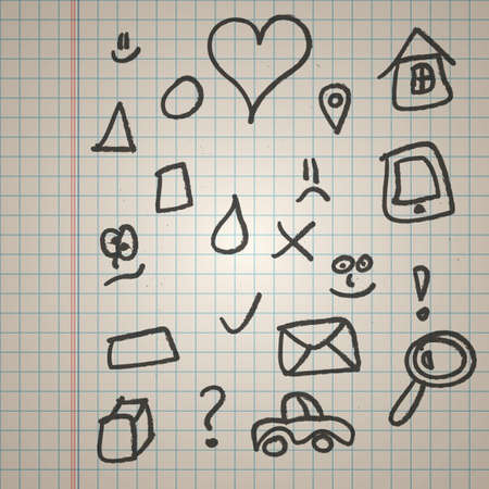 Grunge vector doodle icons set on checked paper