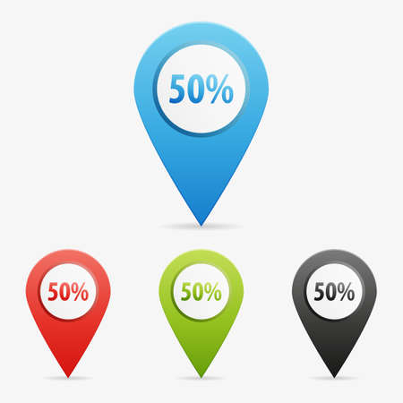 Set of clean vector color 50 percent symbol icon pointers Illustration