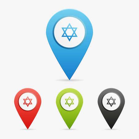jews: Set of clean vector color Judaism symbol icon pointers