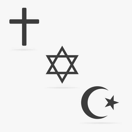 Clean vector gray isolated religion symbol icons