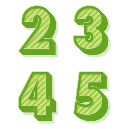 4 5: Green clean vector retro 3d striped alphabet and numbers 2,3,4,5 Illustration