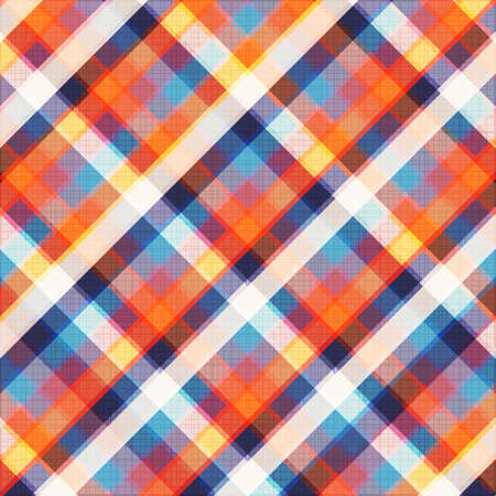 Clean vector retro color checked background pattern on cloth texture