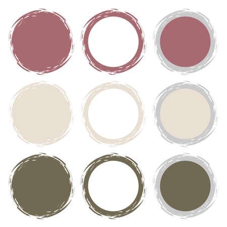 Clean vector retro pastel color set of brush smudges