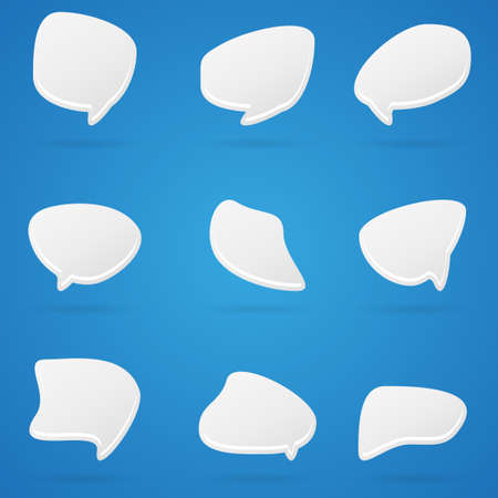 Set of clean white crazy isolated comic speech bubbles