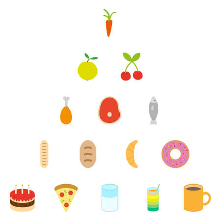Set of clean flat food and drink icons Vector