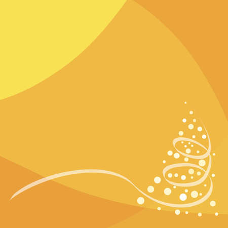 Gold modern background with Christmas tree in corner