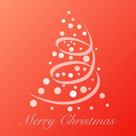 Red modern Christmas background with tree and Merry Christmas text