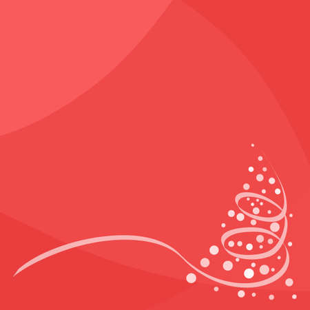 Red modern background with Christmas tree in corner Illustration