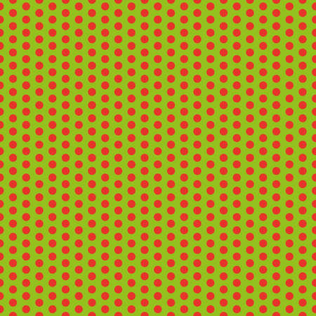 Green clean modern circle seamless Christmas wrapping background pattern with red circles