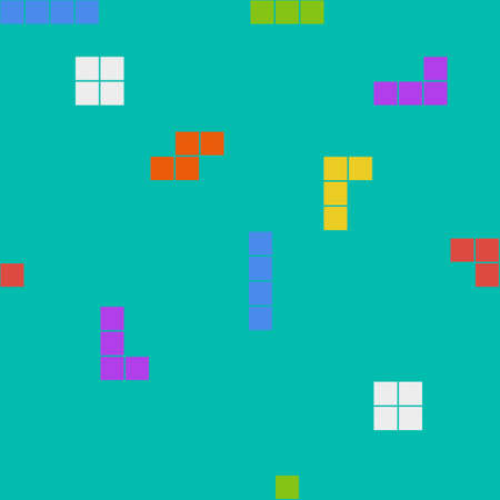 Flat clean seamless background pattern with tetris elements