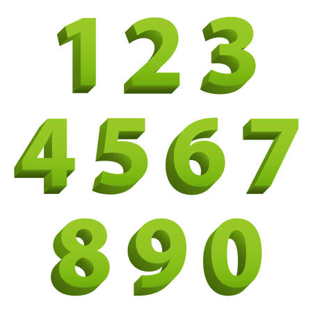 Green clean modern set of 3d isolated numbers Illustration