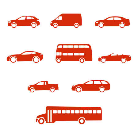 cabrio: Red clean simple flat set of vehicle silhouettes