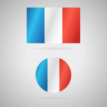 Clean vector modern rectangle and circle flag of France
