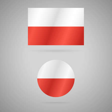 Clean vector modern rectangle and circle flag of Poland