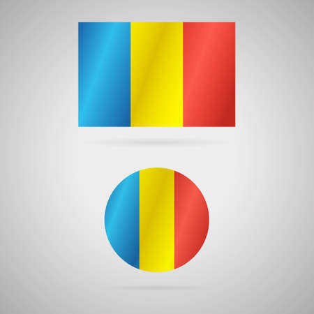 Clean vector modern rectangle and circle flag of Romania Illustration