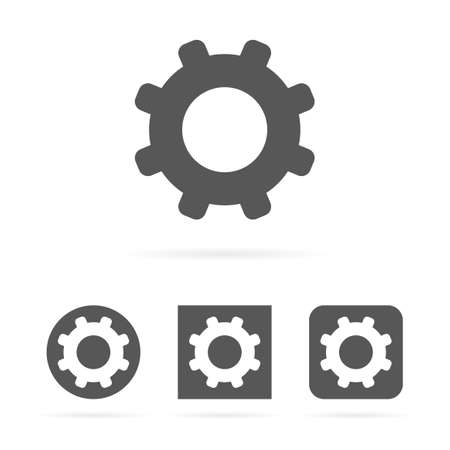 Gray clean modern isolated set of vector gear symbol icons Illustration