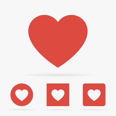 Red clean modern vector set of heart symbol icons