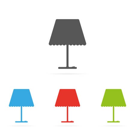 Set of color vector lamp symbol icons